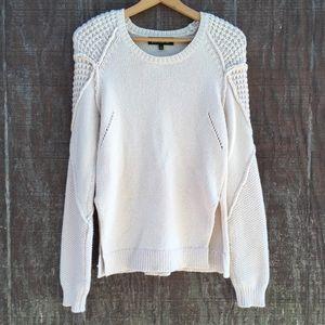 Sam Edelman Multi-stitch Cream Knit Boho Sweater M